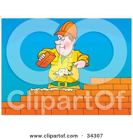 Clipart Illustration Of A Friendly Male Caucasian Brick Layer Using A Trowel To Spread Mortar While Laying A Brick Wall