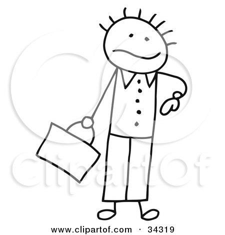 Clipart Illustration of a Late Stick Person Businessman Glancing At His Watch by C Charley-Franzwa
