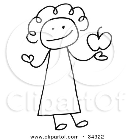 Clipart Illustration of a Female Stick Person Teacher Holding An Apple by C Charley-Franzwa
