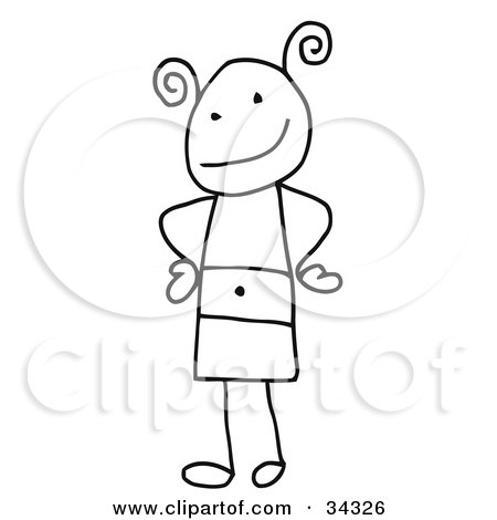 Clipart Illustration of a Stick Person Girl Standing With Her Hands On Her Hips by C Charley-Franzwa