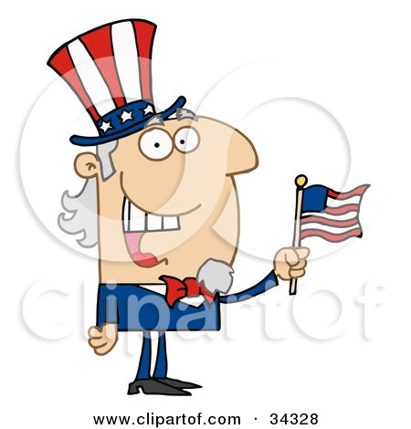 Clipart Illustration of an Energetic Uncle Sam Smiling And Waving A Flag by Hit Toon