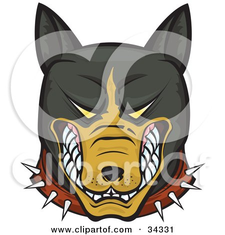 Clipart Illustration of a Mean And Aggressive Brown And Black Pitbull