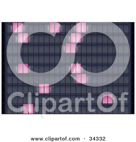 Clipart Illustration of a Background Of Random Pink Illuminated Squares On A Grid Or Skyscrapers by Eugene