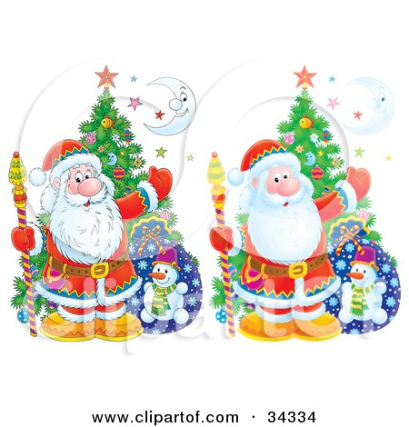 Clipart Illustration of Two Versions Of Santa Claus With A Christmas Tree, Toy Sack, Stars And A Crescent Moon, One Version Airbrushed, The Other With Flat Colors by Alex Bannykh