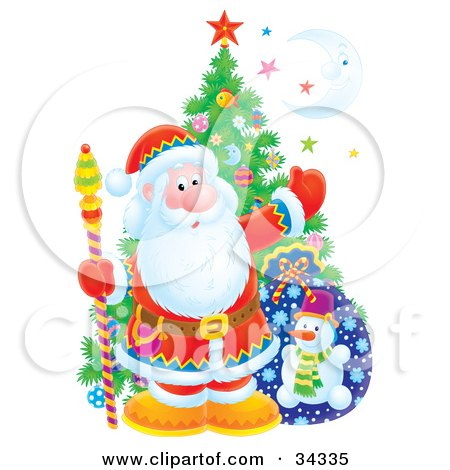 Clipart Illustration of Santa Claus Holding A Staff And Standing In Front Of A Christmas Tree, Toy Sack, Colorful Stars And A Crescent Moon by Alex Bannykh
