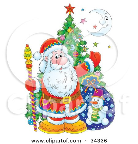 Clipart Illustration of Kris Kringle Posed With A Christmas Tree, Toy Sack, Colorful Stars And A Crescent Moon by Alex Bannykh