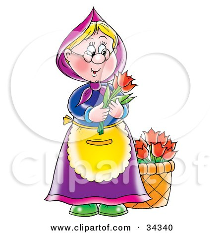 Clipart Illustration of a Sweet Blond Granny With A Bucket Of Flowers, Holding Two Red Tulips by Alex Bannykh