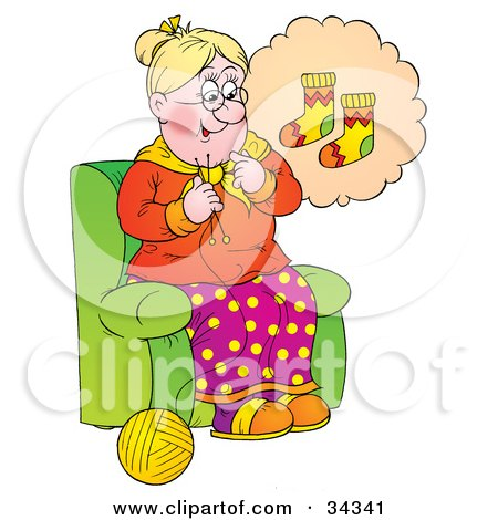 Clipart Illustration of a Sweet Blond Granny Thinking Of A Colorful Pair Of Socks To Knit While Sitting In A Chair by Alex Bannykh