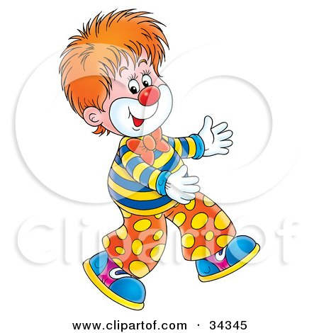 ... of an Adorable Red Haired Circus Clown Walking Funny by Alex Bannykh