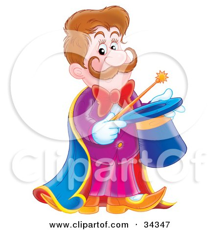 Clipart Illustration of a Handsome Magician With A Mustache, Holding A Magic Wand Over A Hat by Alex Bannykh