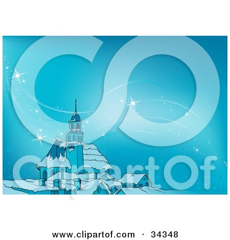 Clipart Illustration of a Wave Of Magical Sparkling Stars Or Light Floating On The Wind On A Cold Winter Night Around A Church, On A Blue Background by dero