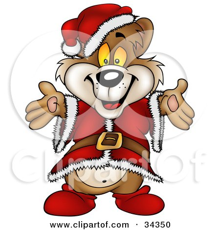 Clipart Illustration of a Cute Christmas Bear In A Santa Suit And Hat, Holding His Arms Out For A Hug by dero