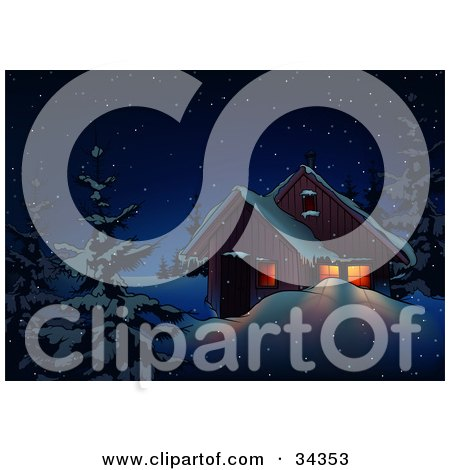 Clipart Illustration of Light Shining Through The Windows Of A Home On A Snowy Winter Night In The Woods by dero