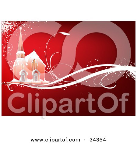 Clipart Illustration of a Church In The Snow, On A Magical Sparkling White Vine, Over A Gradient Red Background by dero