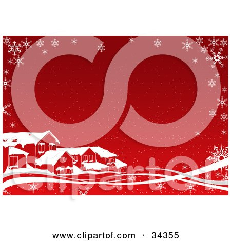 Clipart Illustration of Homes In A Neighborhood, With Snow On Their Roof Tops, On A Red Background With White Waves And Snowflakes by dero