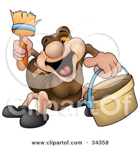 Clipart Illustration of a Cute Brown Spider Having Fun While Painting by dero