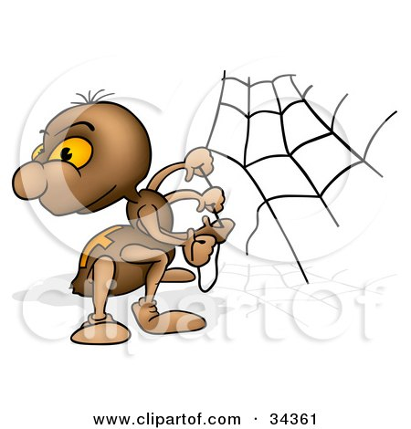 Clipart Illustration of a Cute Brown Spider Looking Back Over His Shoulder While Building A Web by dero