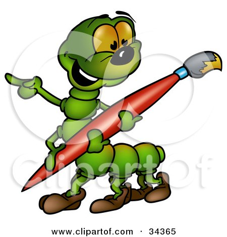 Clipart Illustration of a Cute Green Caterpillar Pointing And Carrying A Large Red Paintbrush With Yellow Paint On The Tip by dero