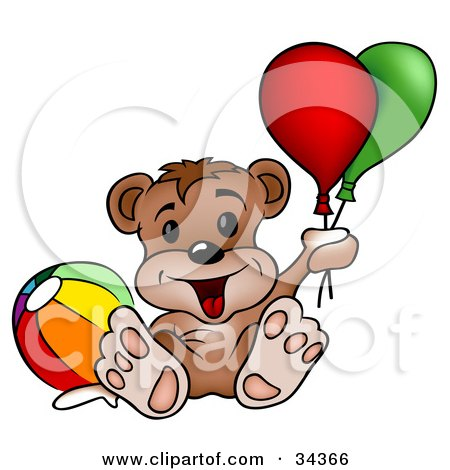 Clipart Illustration of a Cute Bear Cub With A Toy Ball, Leaning Back And Holding Onto Party Balloons by dero