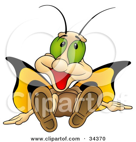 Clipart Illustration of a Cute Butterfly Character With Big Green Eyes And Yellow Wings, Sitting Down And Smiling by dero