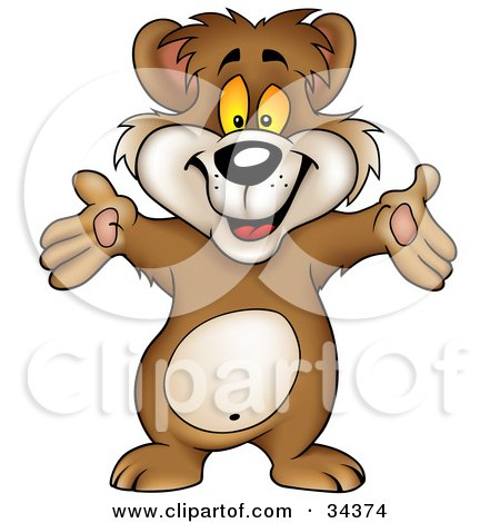 Clipart Illustration of a Friendly Brown Bear Holding His Hands Out And Greeting The Viewer by dero