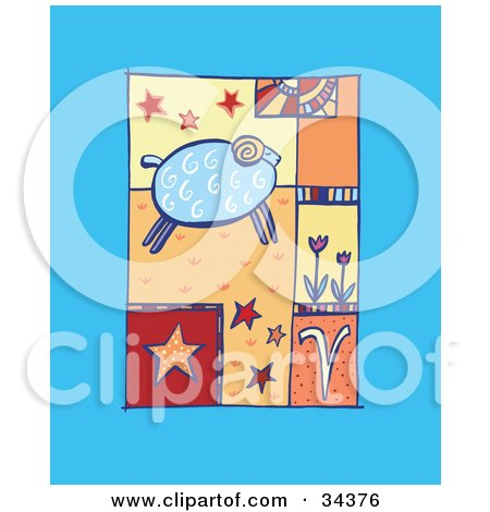 Clipart Illustration of a Scene Of Aries With A Ram Running Past Flowers And Stars by Lisa Arts