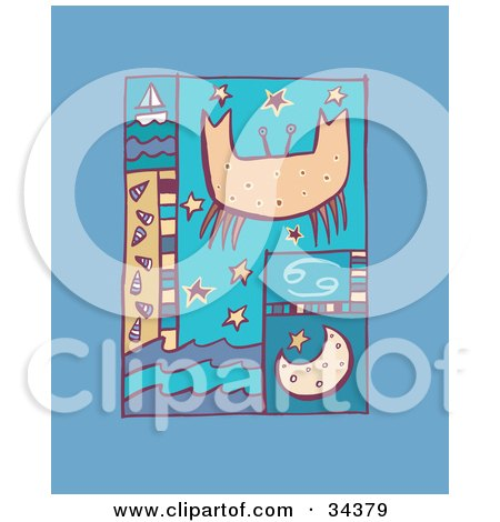 Clipart Illustration of a Scene Of Cancer With A Crab Over Stars, With The Moon, Waves And A Sailboat by Lisa Arts