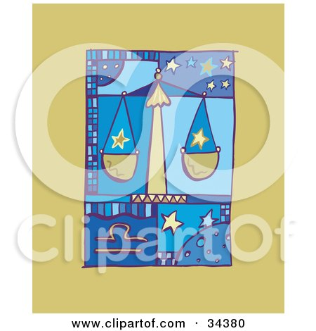 Clipart Illustration of a Scene Of Libra Showing Stars On A Scale by Lisa Arts