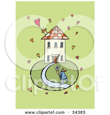 Clipart Illustration of a Person Carrying A Potted Flower To A Home, Surrounded By Hearts by Lisa Arts