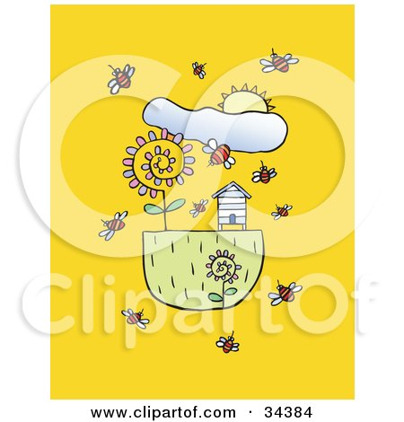 Clipart Illustration Of A Spring Sun Shining Down On Bees Flying Around Flowers And Bee House By Lisa Arts
