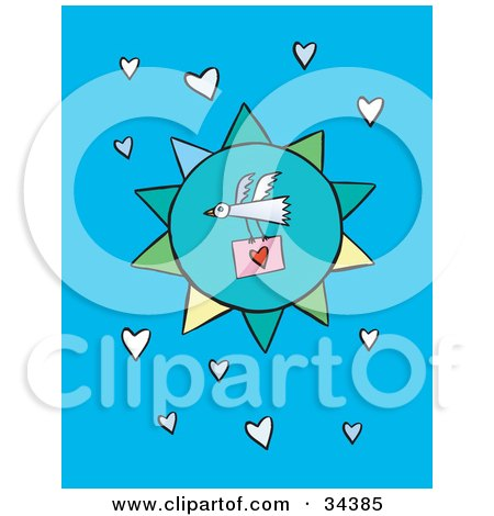 Clipart Illustration of a Bird Flying In Front Of A Blue Sun, Carrying A Love Letter In A Sky Of Hearts by Lisa Arts