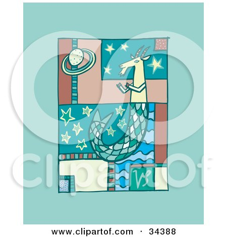 Clipart Illustration of a Scene Of Capricorn With A Scaled Tail, Floating In Stars by Lisa Arts