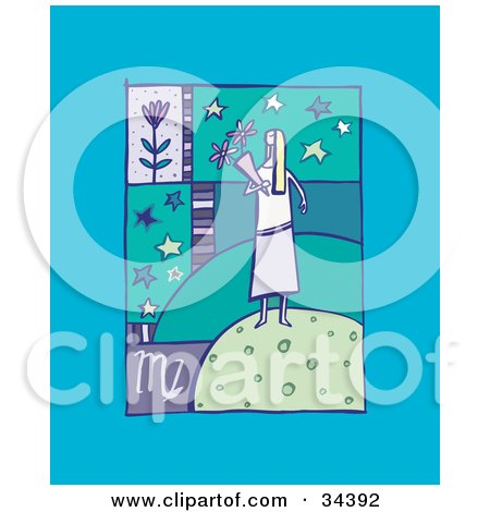 Clipart Illustration of a Scene Of Virgo Showing A Woman Carrying Flowers With Stars by Lisa Arts