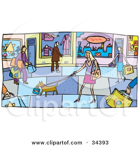 Clipart Illustration of a Street Scene Of Dogs And Shopping People On A Sidewalk Outside Of Store Fronts by Lisa Arts