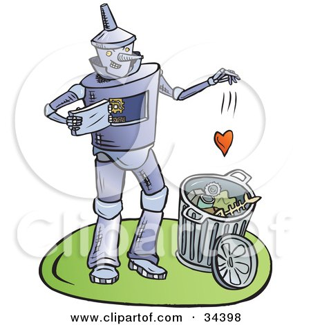 Clipart Illustration of a Heartless Tin Man Dropping His Heart Into A Trash Can by Lisa Arts