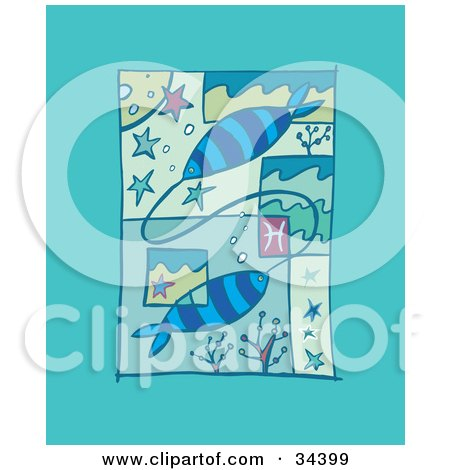 Clipart Illustration of a Scene Of Pisces Showing Two Fish Attached Underwater With Stars by Lisa Arts