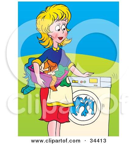 Empty Laundry Basket Clipart Royalty-Free (RF) Wash...