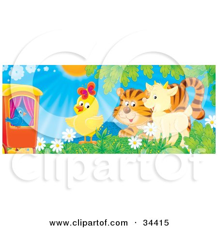 Clipart Illustration of a Blue Bird On A Train, Watching A Chick, Tiger And Goat Play In A Field Of Flowers On A Sunny Spring Day by Alex Bannykh