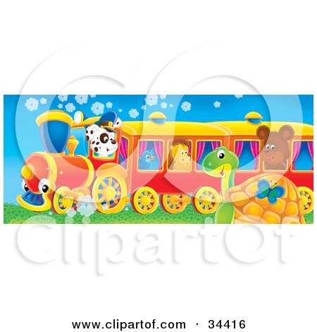 Clipart Illustration of a Cute Spotted Puppy Driving A Train With A Bluebird, Hedgehog And Bear Riding, A Butterfly And Sea Turtle Watching It Pass by Alex Bannykh