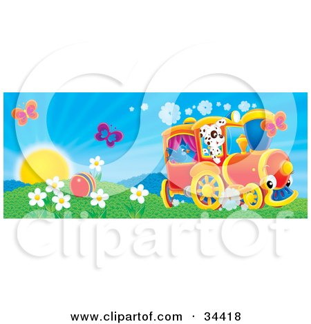 Clipart Illustration of Two Butterflies Over A Ball In A Flowery Field With A Bird And Dog On A Train On A Sunny Spring Day by Alex Bannykh