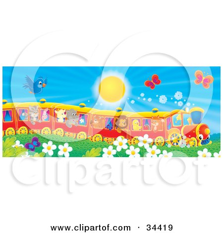 Clipart Illustration of a Blue Bird And Butterflies Flying Over Flowers Near A Cat, Pig, Goat, Rhino, Squirrel, Lion, Chick And Fox On A Train On A Sunny Day by Alex Bannykh