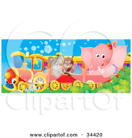Cute Pink Elephant, Owl And Puppy Riding On A Train Posters, Art Prints