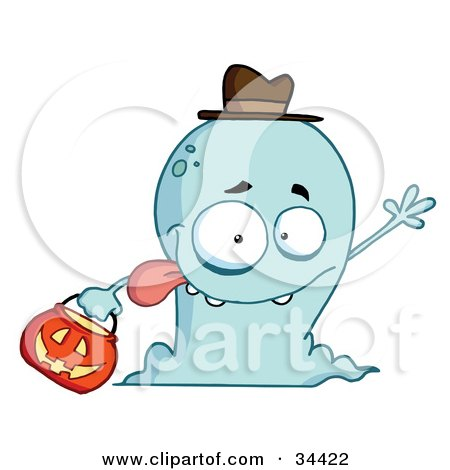 Clipart Illustration Of A Goofy And Friendly Blue Ghost Wearing A Hat And Waving While Trick Or Treating On Halloween