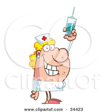Clipart Illustration of a Friendly Female Caucasian Nurse Holding Up A Syringe by Hit Toon
