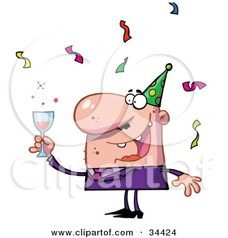 Clipart Illustration of a Happy Caucasian Man Holding Up His Alcoholic Beverage While Having Fun At A Party by Hit Toon