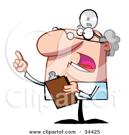 Clipart Illustration of a Bossy Male Senior Doctor Or Veterinarian Wearing A Headlamp, Holding A Clipboard And Hollering by Hit Toon