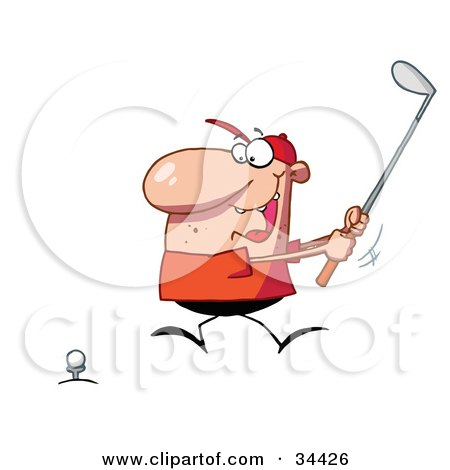 Clipart Illustration Of An Energetic Caucasian Man Running In To Swing While Golfing