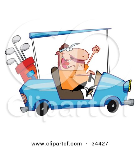 Clipart Illustration Of A Hyper Caucasian Man Driving A Golf Cart Like A Maniac
