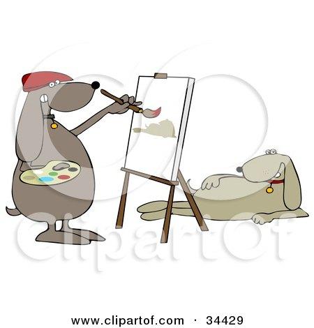 Clipart Illustration of a Beige Dog Modeling For An Artist Dog As He Paints A Portrait by djart