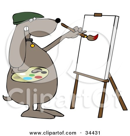 Clipart Illustration of a Brown Dog Artist Painting On A Canvas by djart